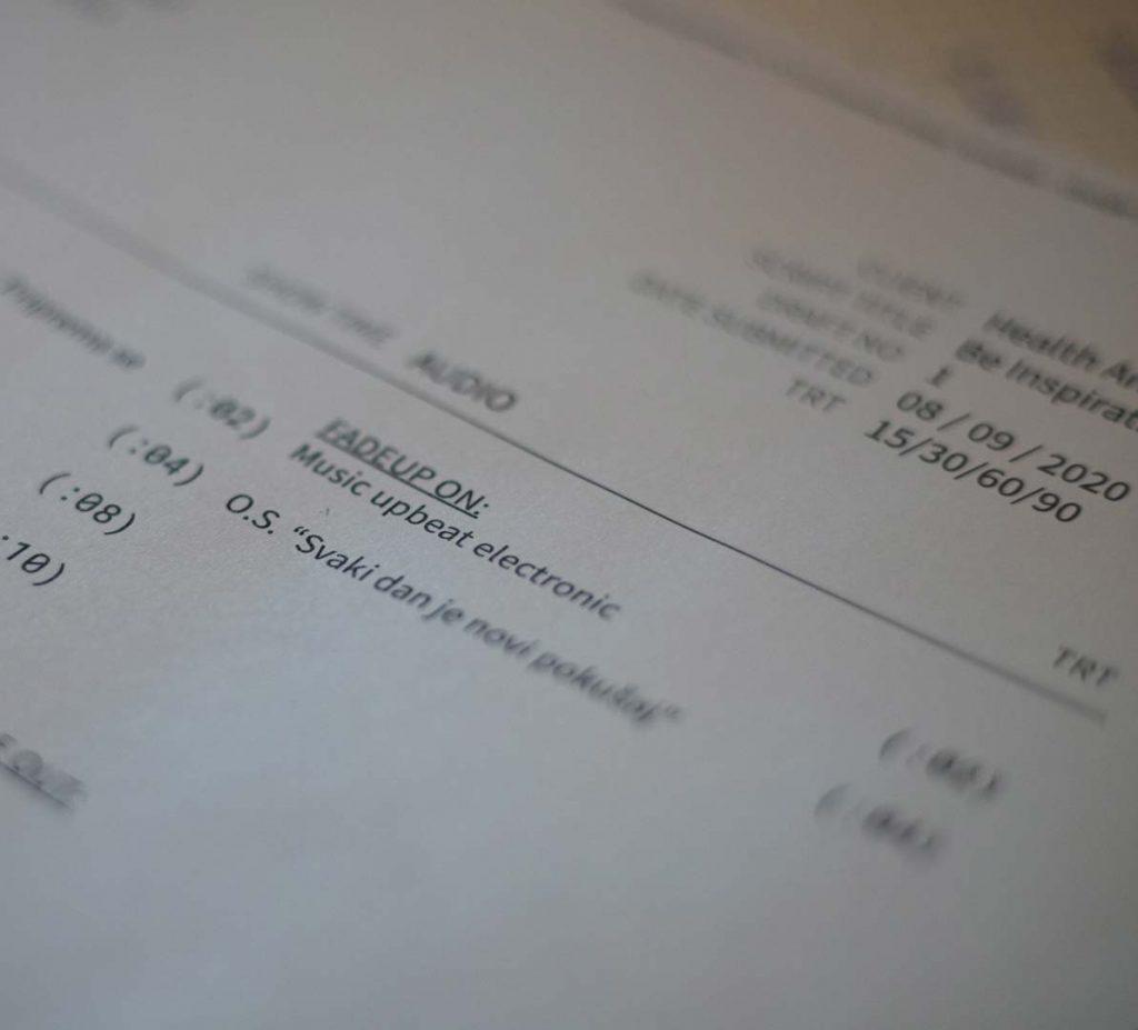 Script for Video Production
